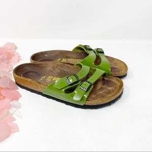 Birkenstock Patent Leather Two Strap Green Sandals